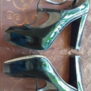 Via Spiga Black Patent Leather Heels